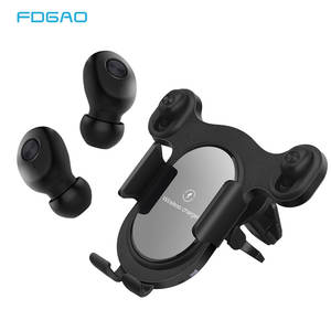 Bluetooth 5.0 Earphone 15W Qi Wireless Car Charger for iPhone 11 XS 8 Samsung S20 S10 Air Vent Fast Charging Phone Holder Mount