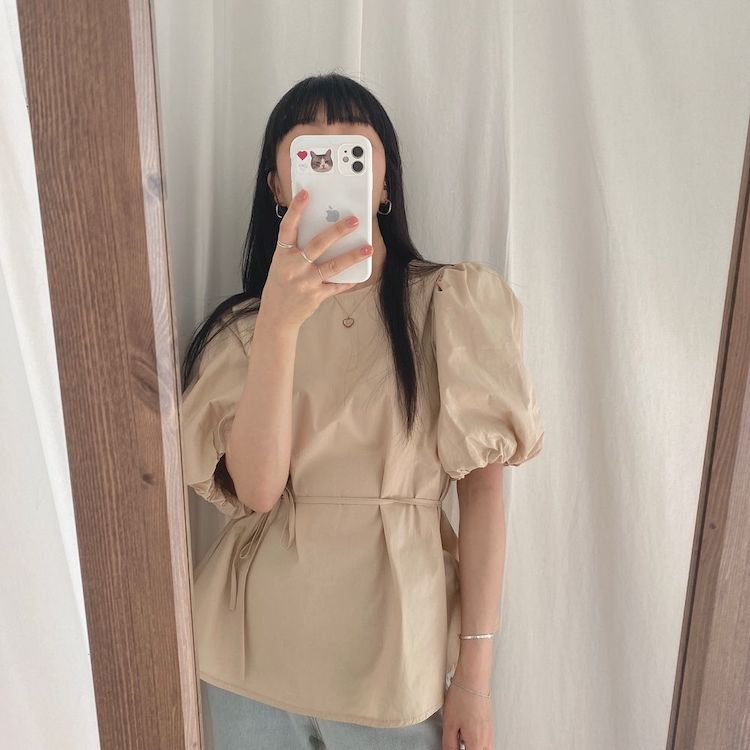 Ha7e1b73b265a42518ad0a1e142ed523cL - Summer O-Neck Short Puff Sleeves Cotton Lace-Up Solid Blouse