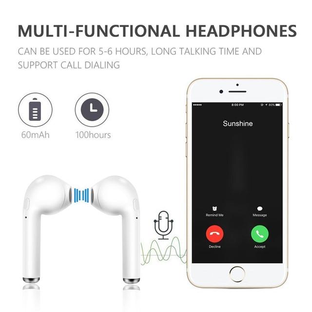 TWS i7 Bluetooth earphones music Headphones business headset sports earbuds suitable wireless Earpieces For xiaomi huawei iphone 2