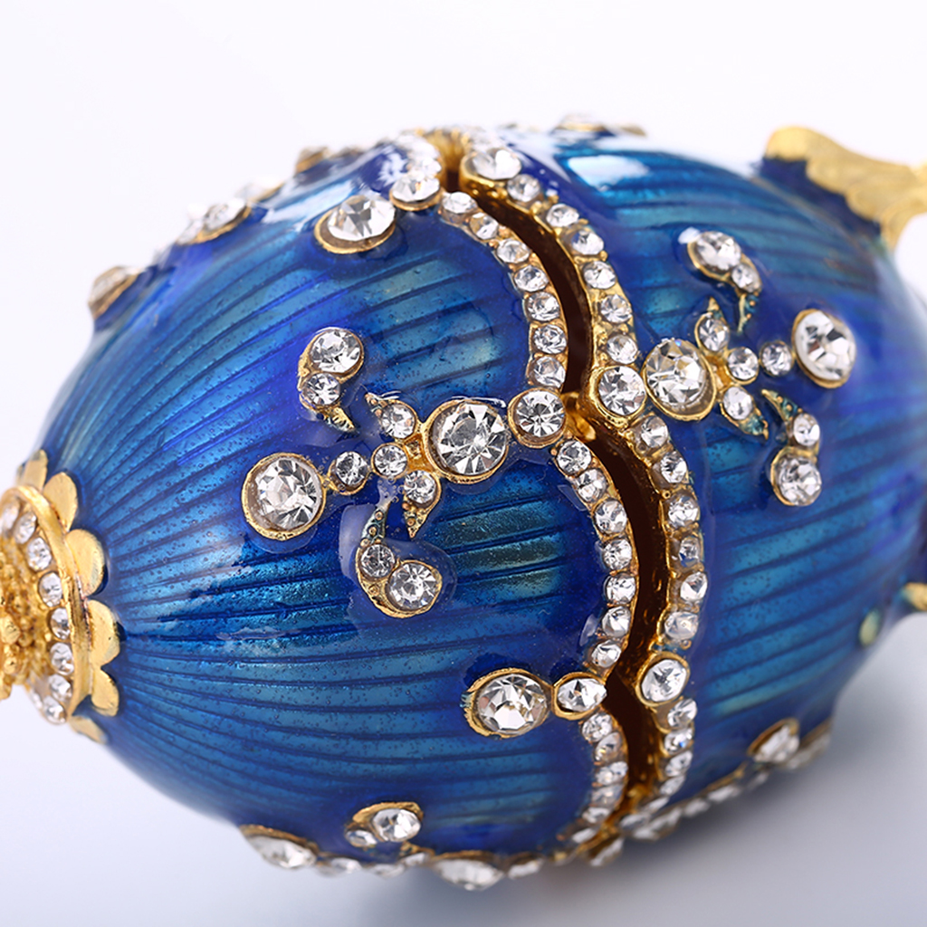 Luxury Blue Faberge Easter Egg Russian Royal Case Leg Jewellery Box Holder