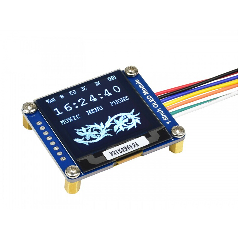 Waveshare 1.5inch <font><b>OLED</b></font> Display Module <font><b>SSD1327</b></font> 128x128 16-bit grey level SPI/I2C interface,with examples(Raspberry Pi/Ard/STM32) image