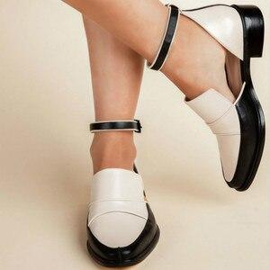 Image 1 - Женские босоножки с ремешком на щиколотке SWYIVY, черные/белые повседневные туфли размера плюс 34 43, лето 2019