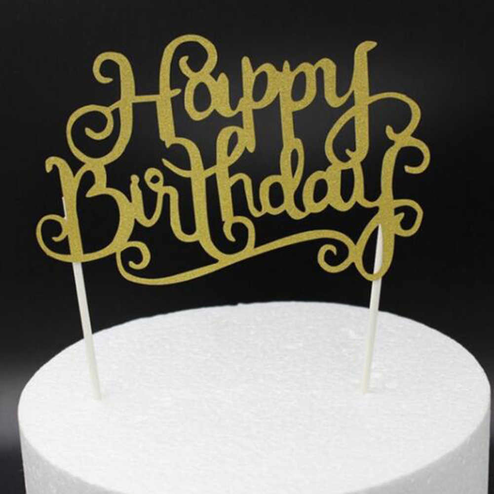 ¡Oferta! Decoración para tarta de cupcakes en color dorado o plateado o azul, banderas para tarta de feliz cumpleaños, adornos para pasteles de fiesta familiar