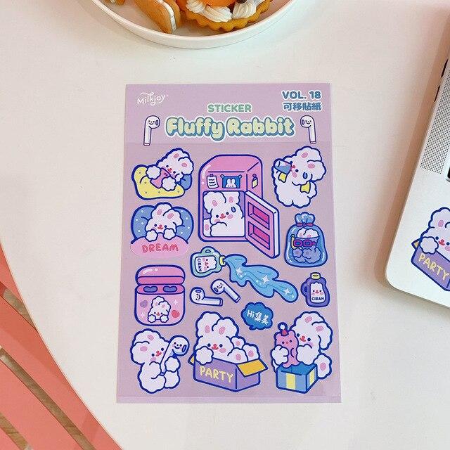 Ins coreano lindo etiqueta engomada suave caramelo conejo de etiquetas de la cáscara del teléfono móvil del ordenador portátil interesante pegatinas decorativa, artículos de papelería