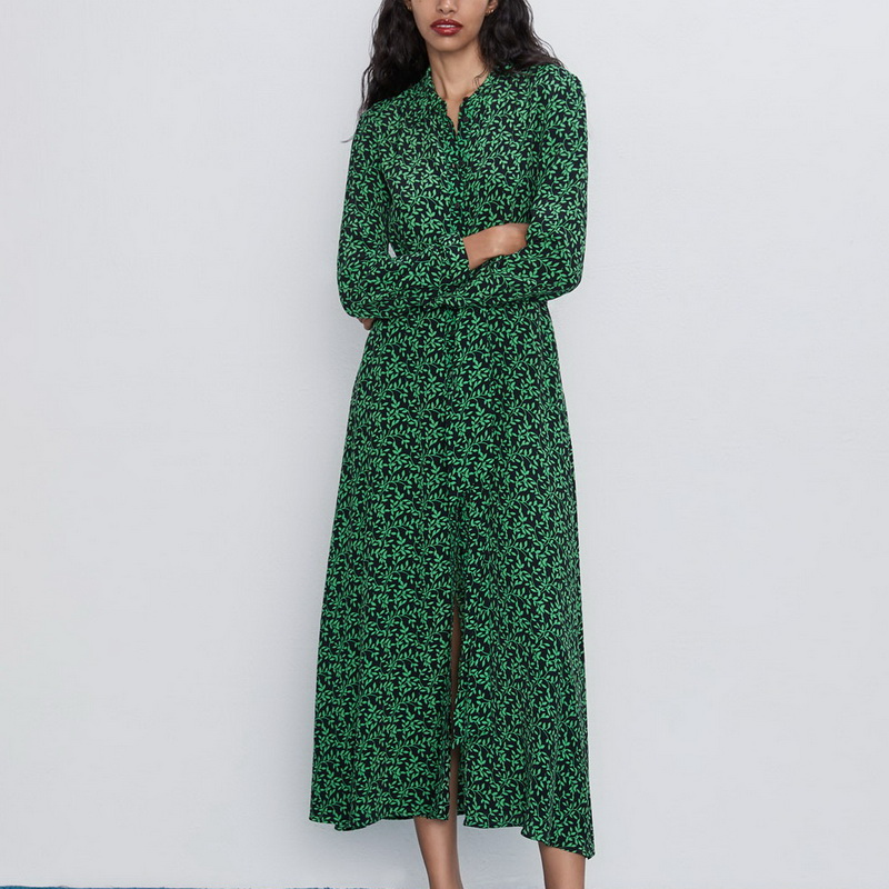 Women Long Dress Autumn 2019 New Fashion Floral Green Prints Vestidos Full Sleeve Modern Lady Maxi Dresses