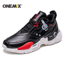 ONEMIX New Men Running Shoes Leather Vamp Sneakers