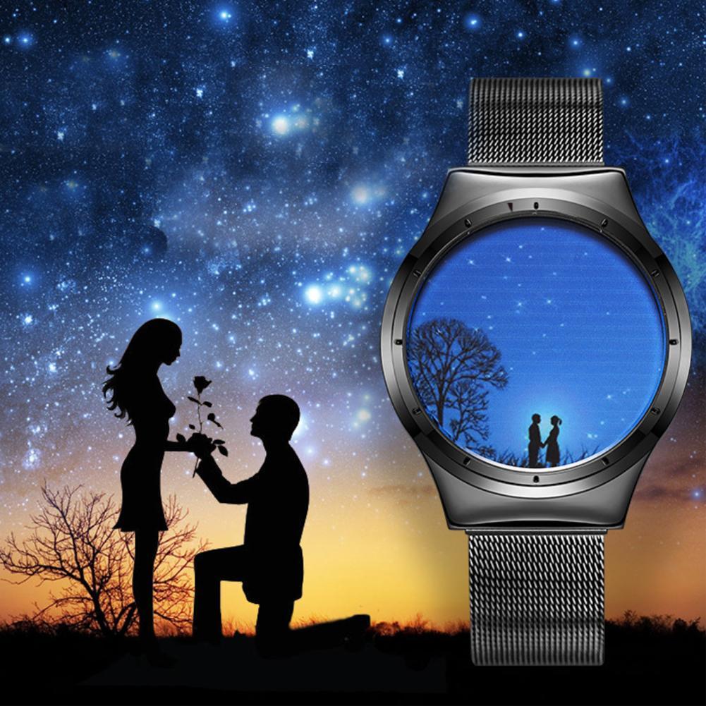 Creative Men Women Digital LED Watch Blue Light Quartz Wristwatch Belt Mesh Band Unqiue Clock Unisex Gift To Boyfriend