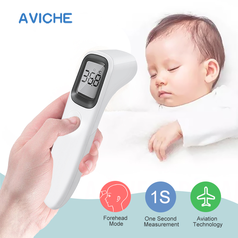 AVICHE LCD Digital Non contact IR Infrared Thermometer Forehead Body Temperature Meter for Baby Kid and Adult-in Thermometers from Beauty & Health
