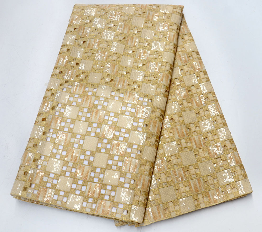 Latest style Gold Color African Organza Lace Fabric 2019 High Quality Lace Fabric Nigerian Lace Fabrics French Bridal Lace For Dress