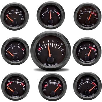 "Car Gauge 2"" 52mm Water Temp Oil Temp Oil Press Fuel Volts Gauge Air Fuel Ratio Boost Exhaust Temp Vehicle Meter Black Shell 12V 1"