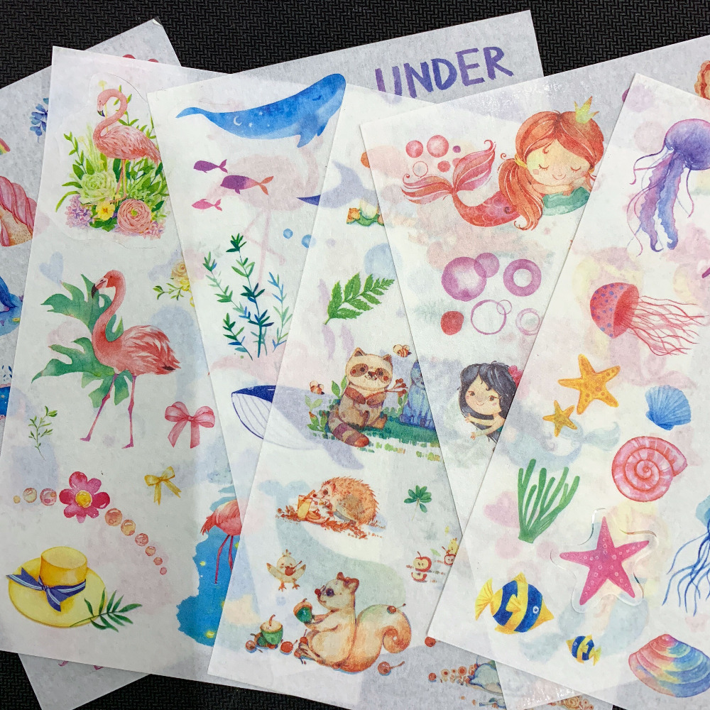 6 Sheets /Pack Simple Life Mermaid Adhesive Stickers Decorative Album Diary Stick Label Hand Account