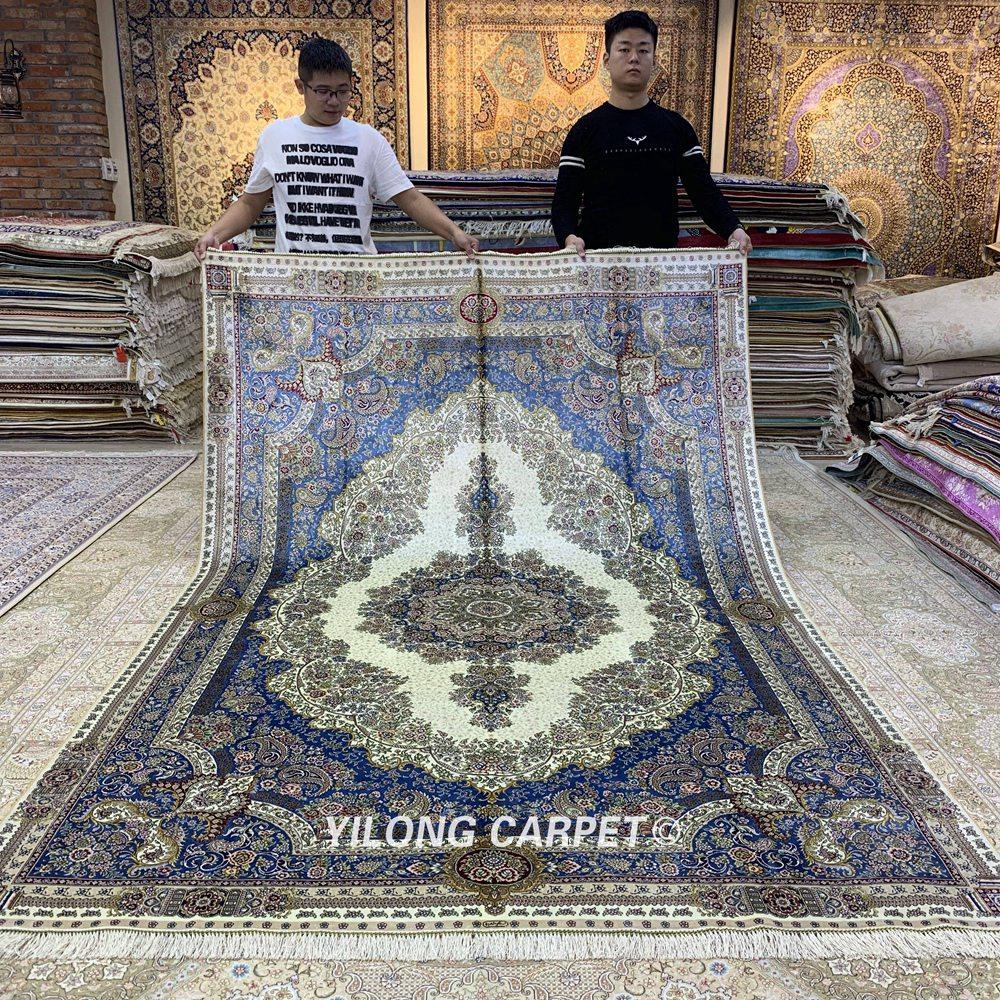 Yilong 6'x9 'türk ipek halı vantage geleneksel ipek el dokuma kilim - Ev Tekstili