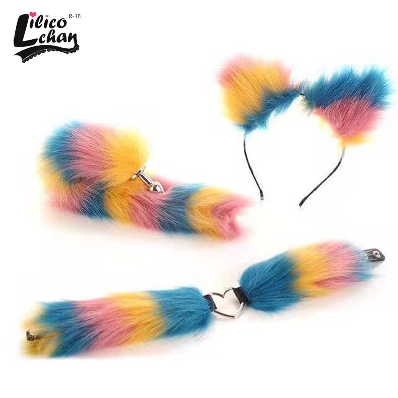 3Pcs Multicolor Soft Neko Ears Headbands Fox Tail Erotic Anime Cosplay Plush Bdsm Accessories Adult Sex Toys for Women