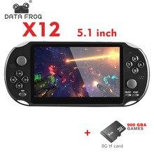 Datafrog x12 portátil handheld console de jogos de vídeo 3200 + jogos 5 polegada dupla balancim handheld game console suporte tv saída