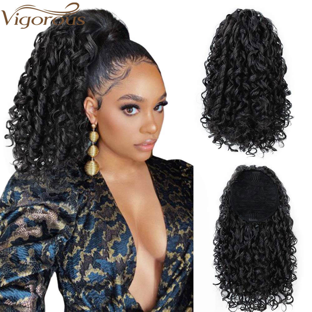 Hair-Extension Puff-Ponytail Curly Vigorous Afro Kinky Clip-In Drawstring Synthetic African