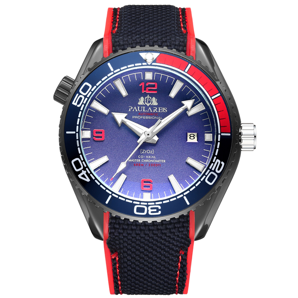 Men Automatic Self Wind Mechanical Canvas Rubber Strap James Bond 007 Style Orange Blue Red Rotatable Bezel Classic Watch