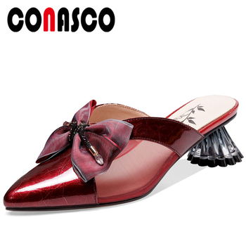 CONASCO Women Sandals Pumps Genuine Leather Slippers Fashion Butterfly-Knot Mules Summer New Mesh High Heels Casual Shoes Woman