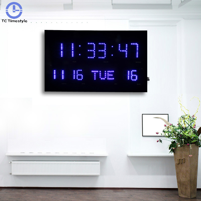 Perpetual Calendar Led Wall Clock Dual-use Office Decor Table Clocks Modern Design Home Large Big Digits Electronic Watch