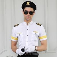 New Style Security White Shirt Uniform Pilot Mens Slim Fit Short Sleeve Work Shirts Waiter Dress Men Plus Size Costume