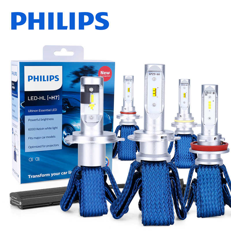 Philips H7 LED H4 H8 H11 H16 9005 9006 9012 HIR2 HB3 HB4 Ultinon Essential LED bulbs for cars 6000K Auto Headlight Fog Lamps 2PC