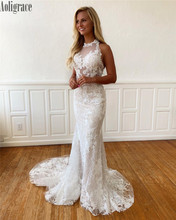цена на Gorgeous Lace Mermaid Wedding Dresses Halter Illusion Backless Sweep Train Bridal Gowns Country Style Vestidoe De Noiva Custom