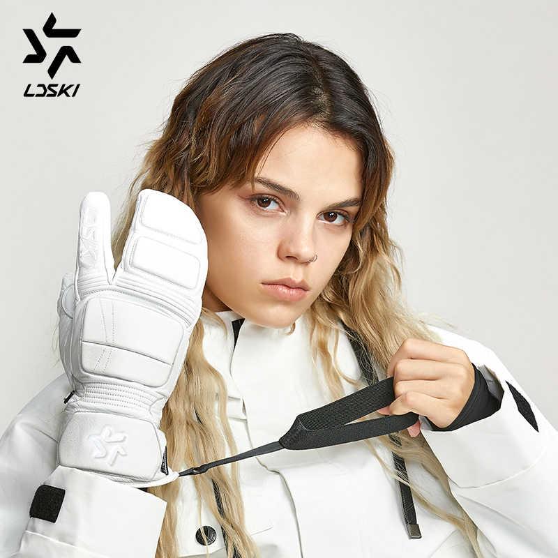 LDSKI sıcak tutan kayak eldiveni kış açık Snowboard eldivenler su geçirmez üç parmak kar araci eldiven Unisex