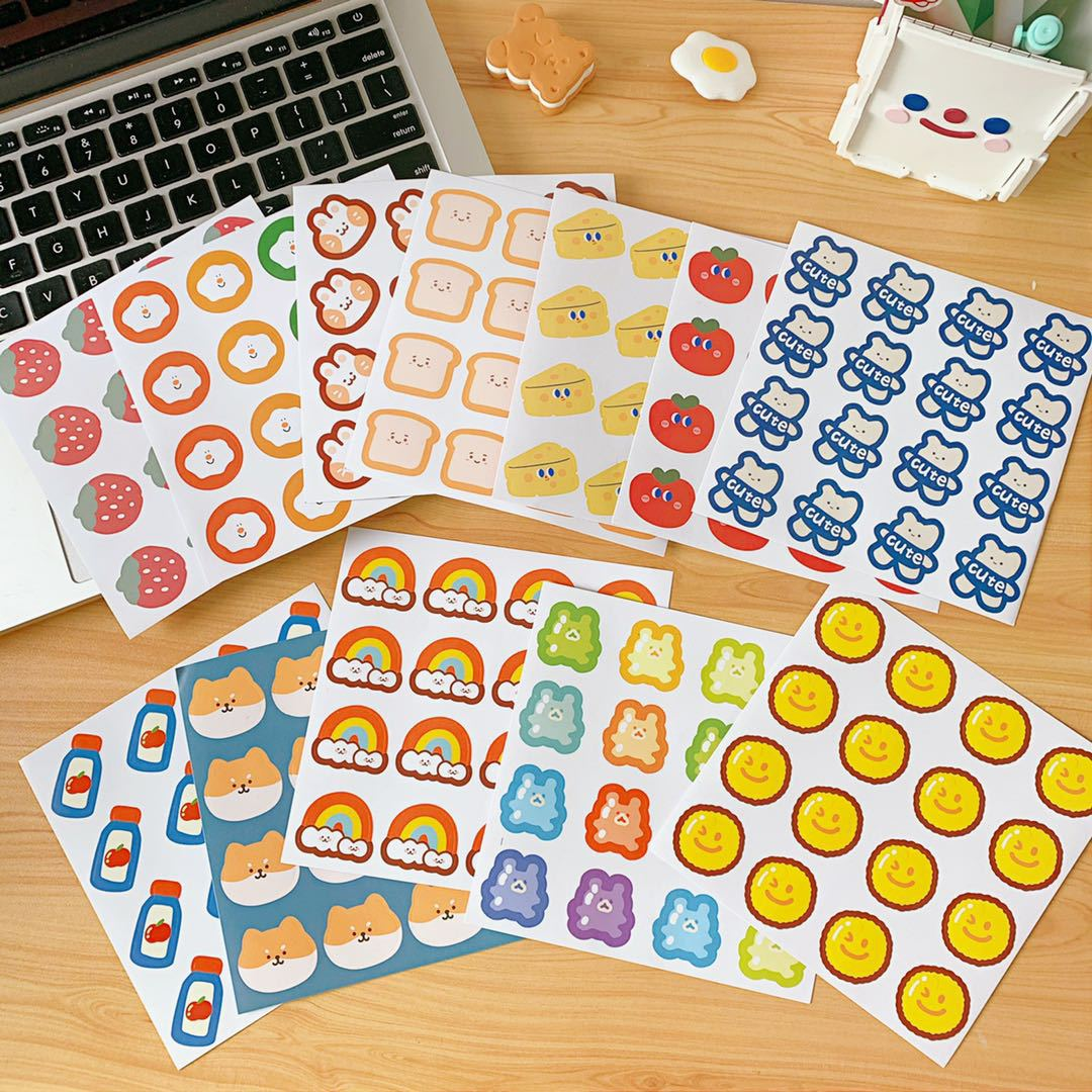 Ins Rainbow Candy Bear Cute Label Sticker Suitcase Wall Notebook Phone Case DIY Seal Decorative Stickers Scrapbooking Stationery
