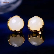 CYNSFJA Real Certified Natural Hetian Jade 925 Sterling Silver Handmade Fine Jewelry White Jade Earrings High Quality Best Gifts 925 sterling silver flower pendants for women natural hetian jade gemstone elegant orchid engraved fine jewelry