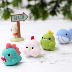 Creative Lovely Doll Little Dinosaur Wool Felt Craft DIY Non Finished Poked Set Handcraft Kit for Needle Material Bag Pack Hot S