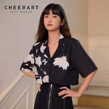 CHEERART Japanese Black White Floral Print Blouse Women Short Sleeve Button Up Lapel Shirt Blouses Summer Fashion 2020 Clothing(China)