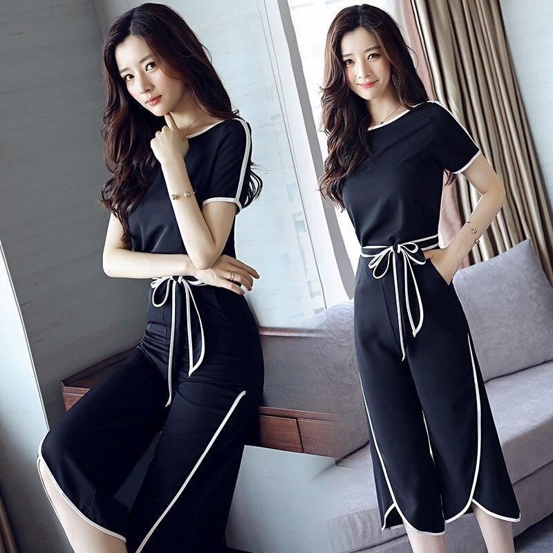 Women Summer Sets Casual Chiffon O-neck Short Sleeve Tops + Calf-Length Pants Two Piece Set Female Suits Sundress
