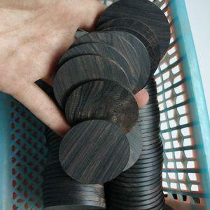 Image 3 - 5pcs lot Africano Ebano rotondo fette di pila di legno maniglia parti di artigianato in legno