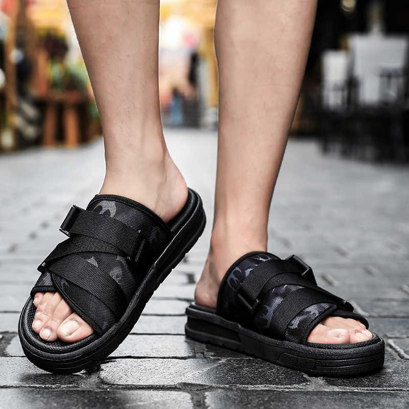 2020 kadın erkek yürüyüş plaj sandaletleri düz Flip flop Sneakers spor siyah terlik spor nehir plaka ayakkabı Sandalias Mujer Masculina