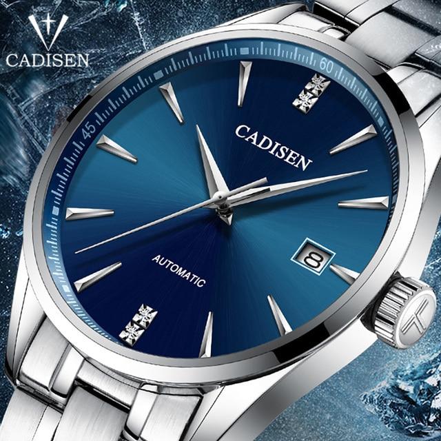 Часы наручные CADISEN Мужские механические, брендовые роскошные стальные автоматические деловые водонепроницаемые