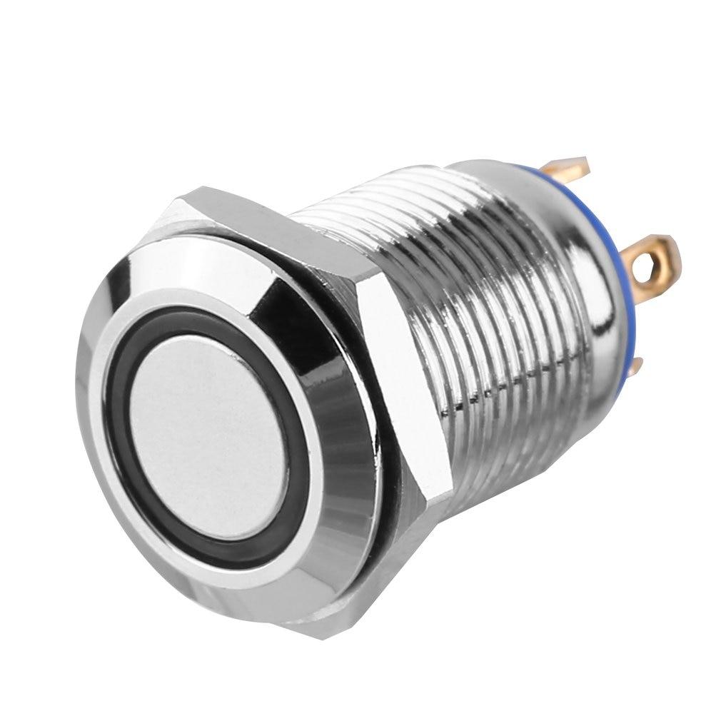 12V métal ange oeil LED voiture illuminée verrouillage 16mm bouton poussoir interrupteur métal bouton poussoir blanc facile à installer - 5