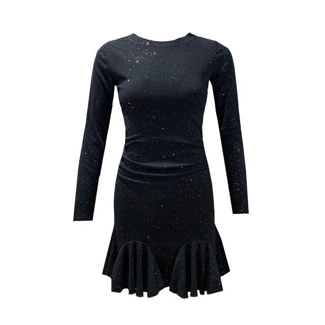 Women's Short Dress Full O-Neck Glitter Sexy Waist Ruffled Mermaid Hip Dress Spring Autumn New Empire A-Line Mini Dress ML607