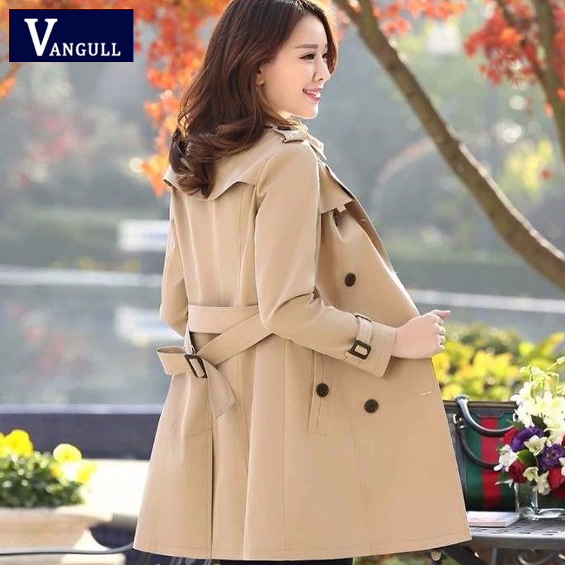 Vangull Women Windbreaker Double Breasted Women Trench 2020 Spring New Casual Slim Plus Size Long Ladies Overcoat Solid Trench