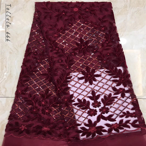 Image 4 - Nigerian Lace Fabric 2019 High Quality Sequin Velvet Lace Fabric Fuchsia Embroidered Tulle African Velvet Lace Fabric