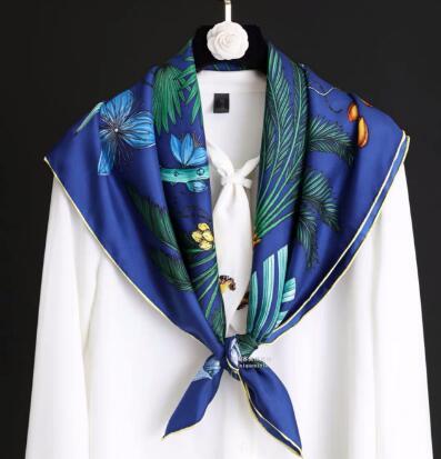 2019 New Arrival Fashion Elegant Brand Flower Design 100% Silk Scarf 90*90 Cm Square Shawl Twill Wrap For Women Lady Girl