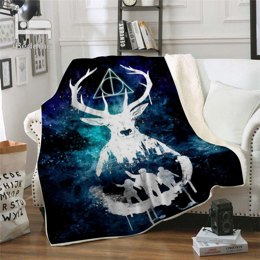 Hot Movie Cartoon Potter Classic Premium Throw Blanket Print on Demand Sherpa Blankets for Sofa Customized DIY Plush Thin Quilt-3