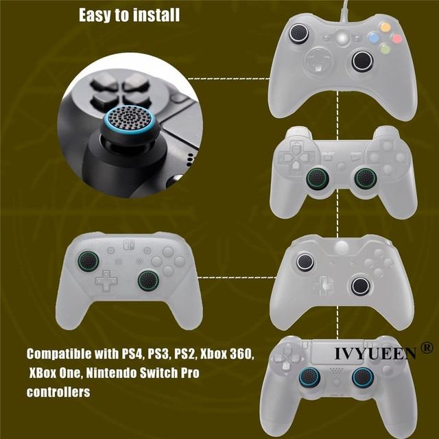 4 pcs Del Silicone Analogico Thumb Stick Grip Copertura per PlayStation 4 PS4 Pro Sottile per PS3 Controller Thumbstick Tappi per xbox 360 di Un 3