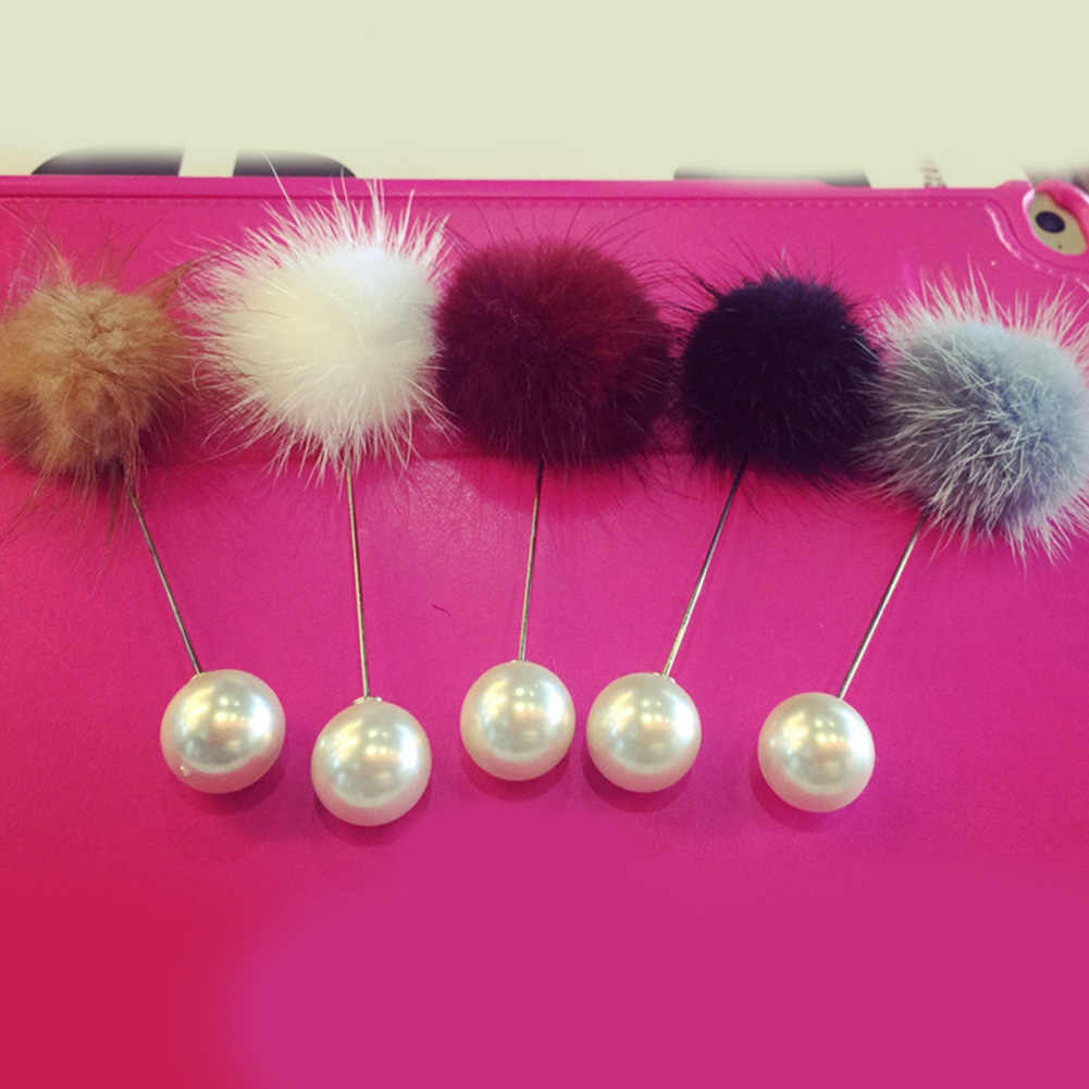 2019 nowy śliczny urok imitacja perły broszka przypinki dla kobiet koreański futro piłka pomponowa Piercing Lapel broszki Collar broszka biżuteria prezent
