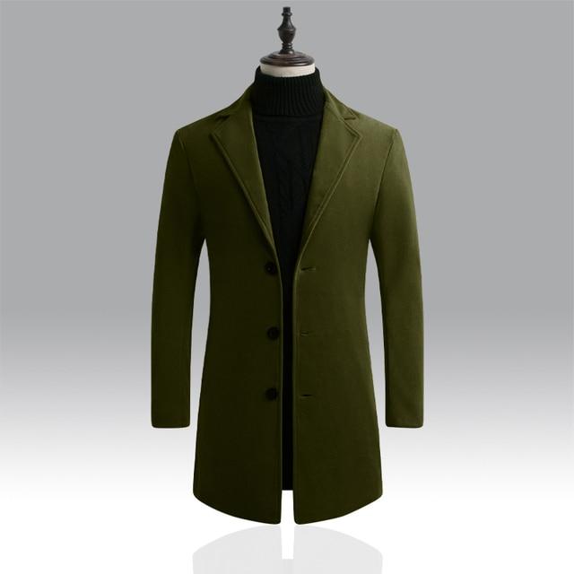 Autumn Winter Mens Brand Fleece blends Jacket Male Overcoat Casual Solid Slim collar coats Long cotton trench coat Streetwear 3
