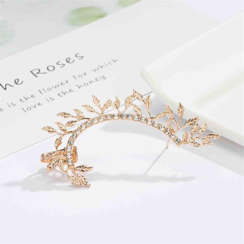 LETAPI 2020 New Fashion Elegant Vintage Punk Gothic Crystal Rhinestone Ear Cuff Wrap Stud Clip Earrings