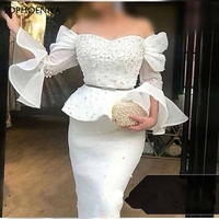 New Arrival White Long sleeve evening dress Party 2020 Pearls Beaded Evening gowns Robe de soiree Formal dress