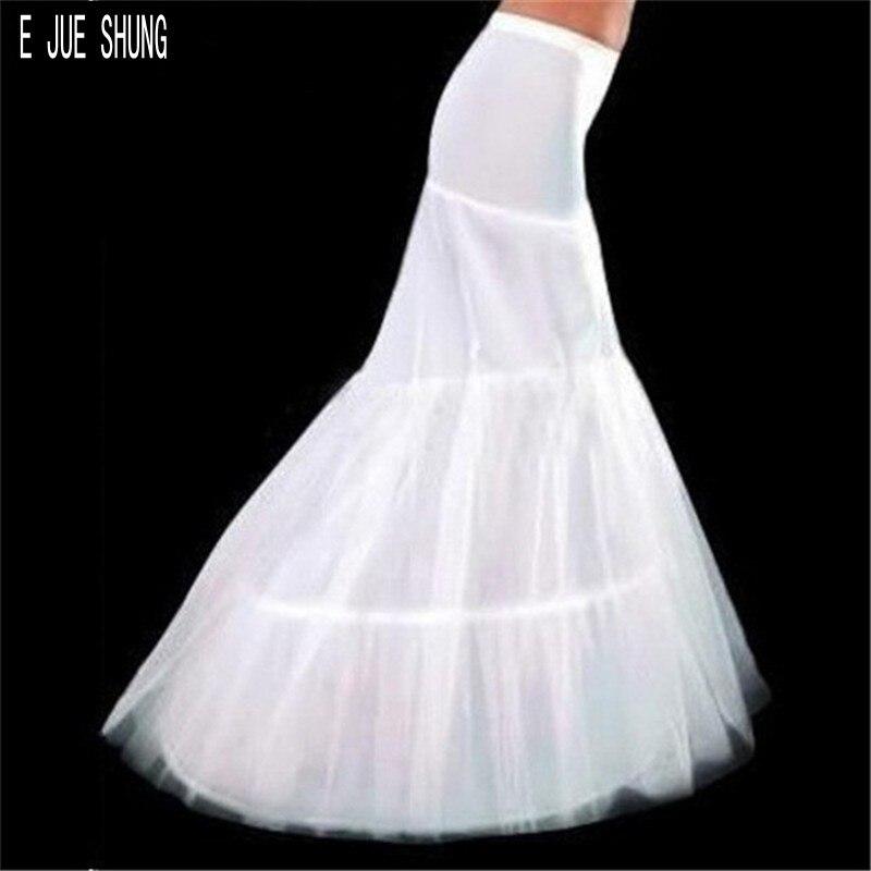 E JUE SHUNG White Mermaid Petticots 3 Hoops Women Bridal Petticot Wedding Crinoline Underskirt Wedding Accessories Vestido Longo