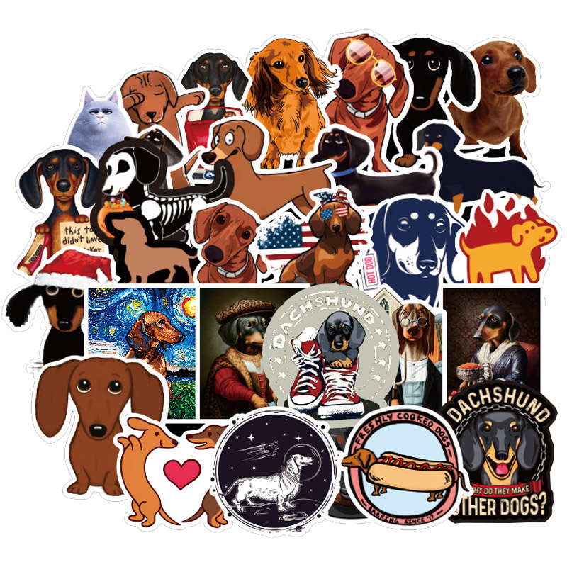 50 PCS Dachshund Dog Sticker Waterproof For On Skateboard Hydro Fask Laptop Suitcase Cute Animal Cartoon Stickers