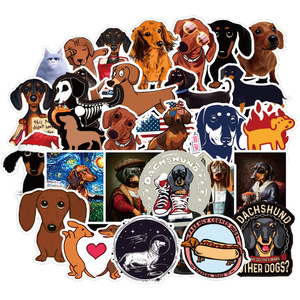 50 PCS Dachshund Dog Sticker Waterproof For on Skateboard Hydro Fask Laptop Suitcase Cute Animal Cartoon Stickers