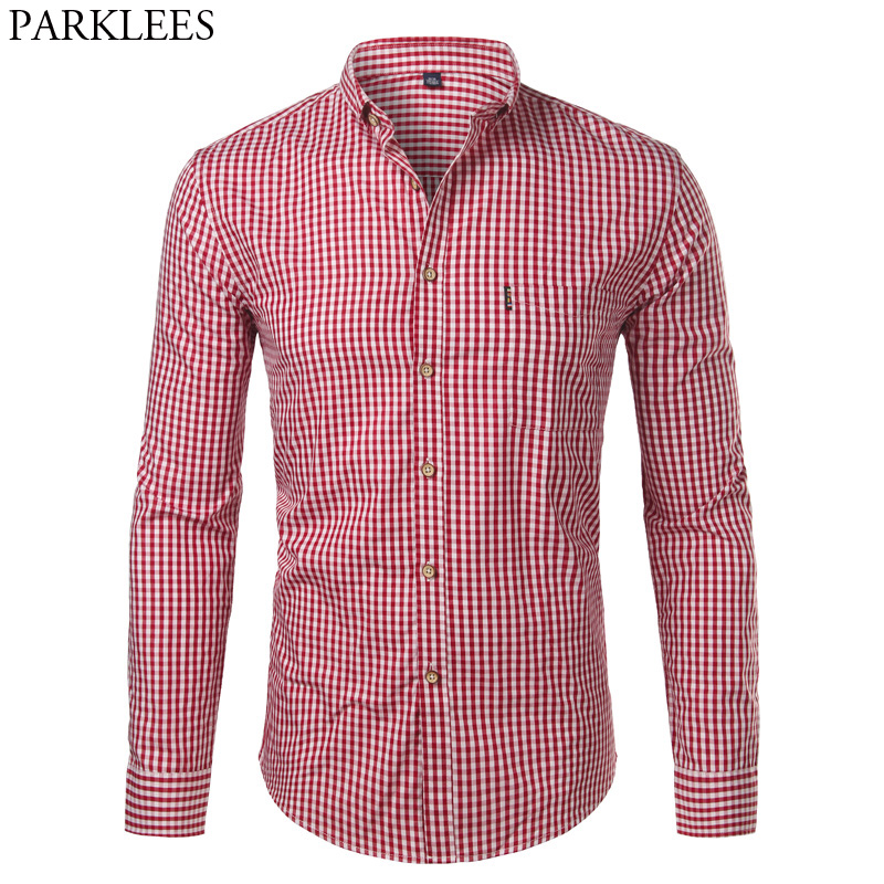 100% Cotton Mens Plaid Shirts Long Sleeve Slim Fit Small Plaid Dress Shirts Casual Button Down Chemise Homme Camisa Masculina 4X
