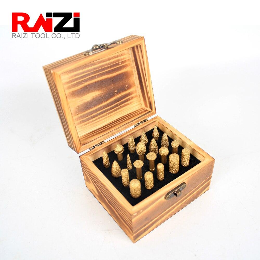 Raizi 20 Pcs Vacuum Brazed Diamond Burs Drill Bits Set For Granite Stone Brick Concrete 1/4 Shank Profiling Carving Head Tools